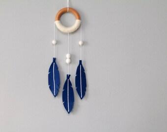Modern Dream Catcher Mobile with Felt Feathers. Sapphire Blue Wall Hanging. Tribal Nursery Decor. Minimalist Dreamcatcher.
