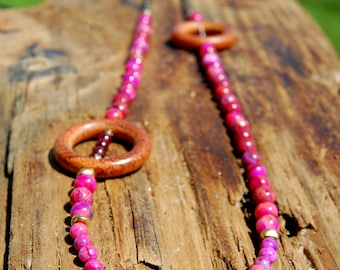 Pink Crazy Lace Agate and Garnet Layering Necklace