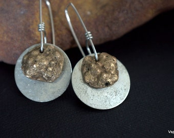 rustic silver earrings brass coral impression OOAK artisan silver jewelry PMC