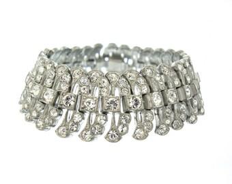 Antique Art Deco Bracelet, Wide Vintage Rhinestone Cuff, 1920s Fine Art Deco Wedding Jewelry, Vintage Rhinestone Jewellery