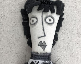 Julia - OOAK spooky cute skelly heirloom rag doll black and white