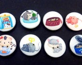 CatButtons.  Set of 8 handmade sewing buttons. Cats, mouse, cat food, cat toys and more as shown.
