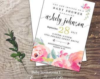 Baby shower invitation new baby baby girl shower party welcome announcement
