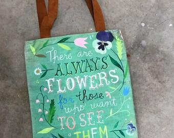 Always Flowers  -  Handmade Cotton/Linen Tote Bag