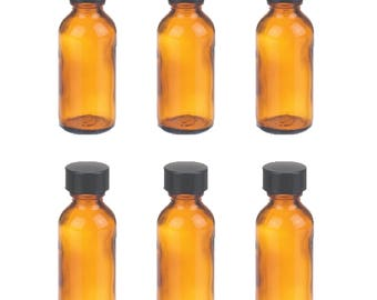 Set of 6 Amber 1 oz / 30 ml Boston Round Glass Bottles With Black Phenolic Caps - Essential Oils Fragrances Brown