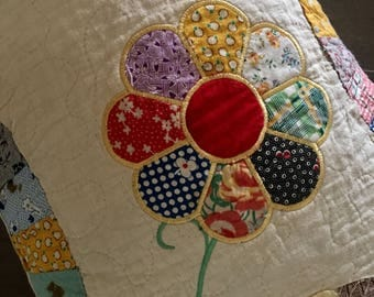 Recycled  Quilt  BENCH PILLOW . . . Dresden Plate Appliqué  Flowers . . . Vintage Double Wedding Ring Design . . .Blast from the Past