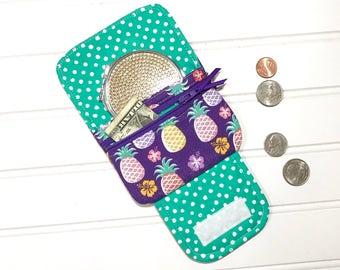 Pineapple gift, Easter Gift, Coin purse, kids wristlet, Children's wallet, Gift for kids, pineapple wallet, Mini Wallet, Fabric wallet