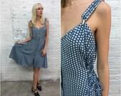 vintage 90s indigo blue polka dot dress / blue and white dot dress / rayon sundress