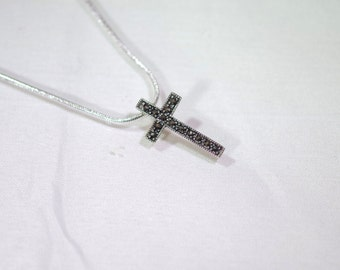 Sterling Silver & Marcasite Cross Necklace - Sterling Silver Snake Chain - 18 inches