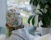 Rainbow Dot Knit Hat // Super Slouchy // Very Soft // Size L/XL