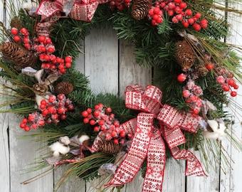 Christmas Wreath, Country Pine Wreaths, Red Christmas Wreath, Artificial Pine Christmas Wreath for Door