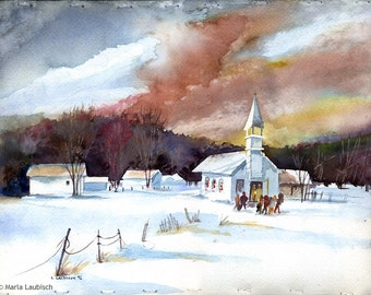 Winter Sky watercolor painting