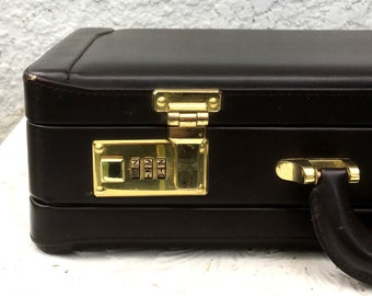 Vintage Dark Brown Executive Expandable Leather Briefcase, Brass Combo Locks