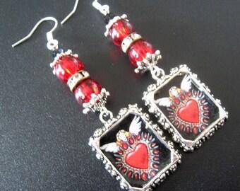 Heart Earrings, Heart Jewelry, Valentine Earrings, Valentine Jewelry, Red Jewelry Earrings, Milagros Jewelry, Love Jewelry, Frida Jewelry