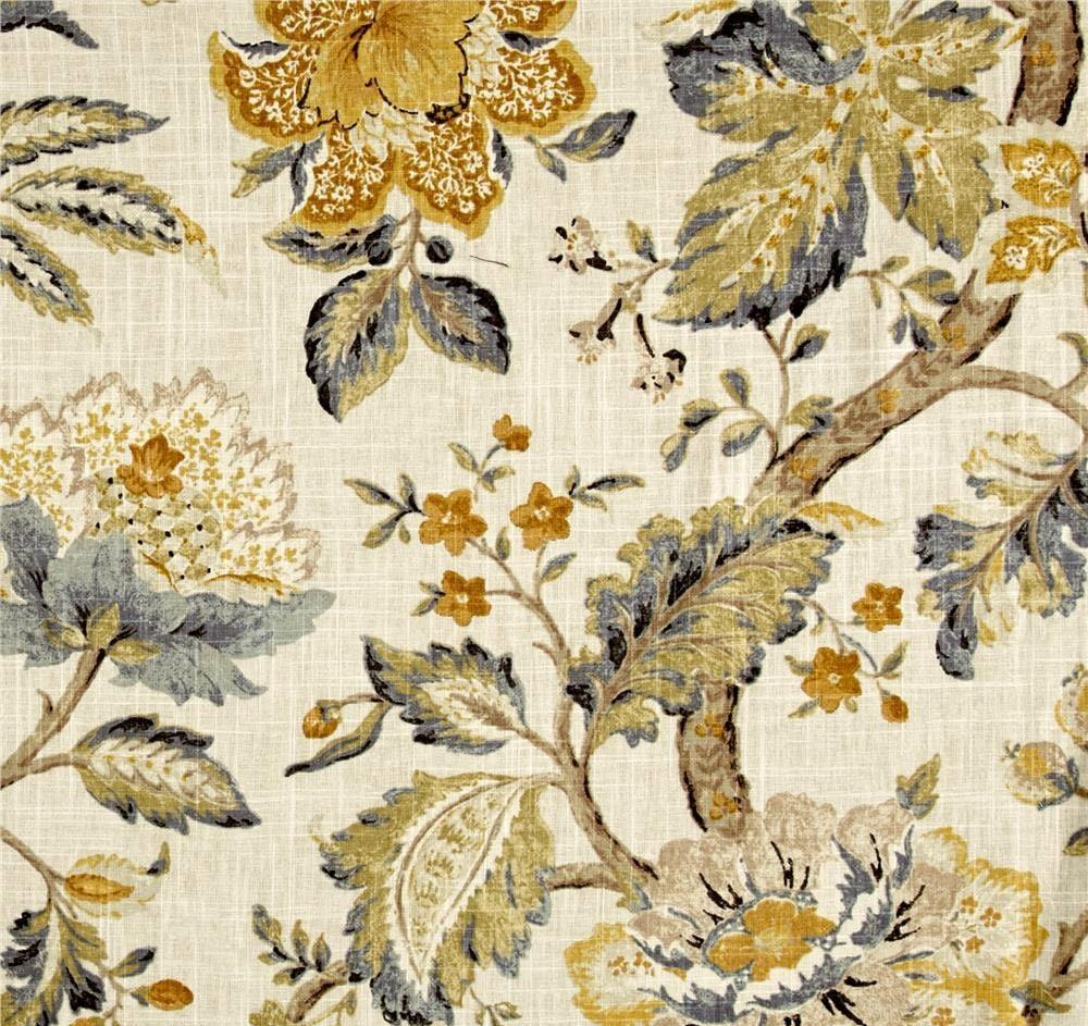 Yellow Floral Drapes Mustard Grey Curtains Modern Jacobean
