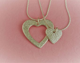 Mother Daughter Necklace Set - Heart Jewelry - Fine Silver - Mothers Day - Handmade Artisan Jewelry by ME Designs