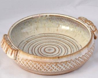 Mini Casserole Dish / Brie Baker - Cream / White /Chowder - Ceramic Stoneware Pottery