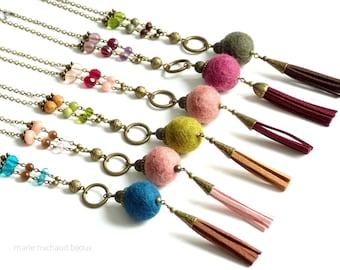 Wool necklace,Long boho necklace,Boho necklace,Boho necklace with tassel,Tassel necklace,Wool jewelry,Wool necklace,Original necklace