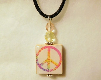 PEACE Pendant / Peace Sign - Symbol SCRABBLE Jewelry / Upcycled Necklace with Satin Cord / Charm / Beaded / 1960s