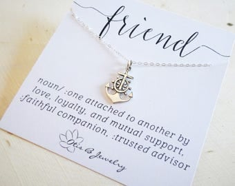 Sterling silver Anchor charm necklace, friendship necklace, you are my anchor, sister gift, bridesmaid gift, message card, Otis B jewelry