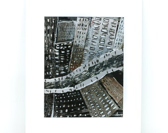 Downtown - New York City Art, Cityscape,Original Mix Media Illustration, Painting, Surreal,black, brown,Wall decoration, Ready to hang