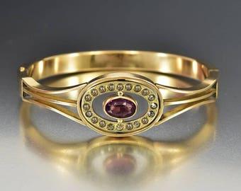 Edwardian Gold Filled Bangle Bracelet, Amethyst Glass Rhinestone Hinged Bracelet, Antique Jewelry, Gold Cuff Bracelet