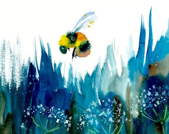 """Bee Watercolor Painting, Original Art, Flower Painting 11""""x15"""""""