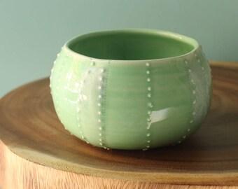 green sea urchin bowl, porcelain