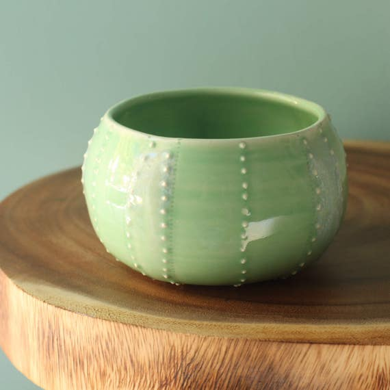 green sea urchin bowl, porcelain