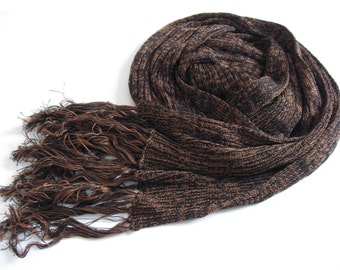 Eco-friendly Scarf or Wrap - brown and navy Tencel - luxurious gift for men