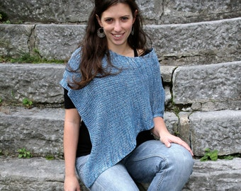 Handmade Bamboo Poncho - Blue shades - Eco Friendly Fashion Knitting Accessorie