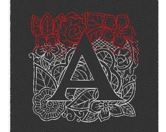 Mendhika Mehndi Alphabet Monogram Embroidered 7x7 Inch Pillow Choose Letter / Linen / Colors