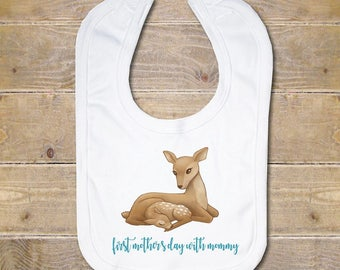 Mother's Day Baby Bib, Baby Bib, Burp Cloth, Baby Shower Gift, First Mother's Day, Baby Girl, Flowers, Mother's Day Gift, New Mom, Deer
