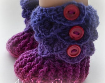 """American Girl Crocodile Stitch 'Lupine"""" Pinks and Purples Booties with Buttons -  18"""" Doll Crochet Boots - Made and Ready to go"""