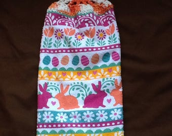Double Hanging Kitchen Towels / Bunnies and Eggs Easter Towel / Hanging Towels / Hanging Kitchen Towels / Kitchen Towel / Towel