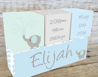 Personalized Wooden Name Birth Blocks Custom Made Elephant Pastels