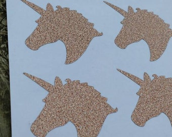 Rose Gold Glitter Unicorn Stickers -Big Sheet!