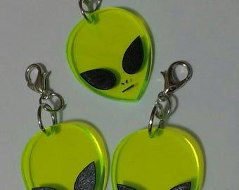 Green Alien Planner Charm Clip