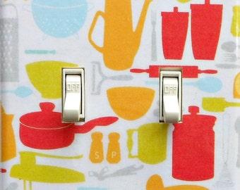 Retro fifties kitchen switchplates w/ MATCHING SCREWS- Kitchen wall decoration rockabilly kitchen retro decor fifties & sixties wallpaper