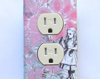 Alice Outlet covers & wall plates w/ MATCHING SCREWS- Alice in Wonderland nursery Alice electrical outlets Alice rocker plate Alice rocker