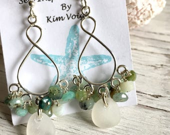 Sea Glass Chandelier Earrings Sterling Silver Bohemian Jewelry