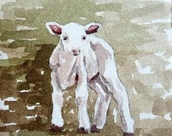 Little lamb original watercolor painting 3.75 x 3.75 inches Lamb painting lamb watercolor baby room art nursery room art sheep painting