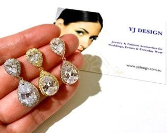 Drop Bridal Earrings, Teardrop Wedding Earrings, Cubic Zirconia Cz Dangle Earrings, Crystal Wedding Jewelry, Bridesmaid Gift for Her, POIRE