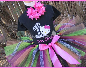 1yr, Ready to Ship, 1st Zebra  Kitty with Number, Party Outfit, Theme Party, Tutu Set