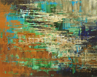Retro giclee print on CANVAS of original ABSTRACT painting LOWLANDS by Tatiana Iliina