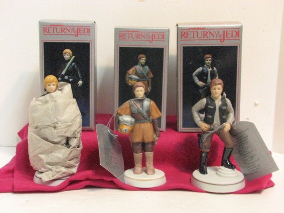 3 Vintage ROTJ Luke Skywalker Princess Leia & Han Solo Sigma Porcelain Figurines NMIB in Box ca: 1983, Star Wars Return of the Jedi by Towle
