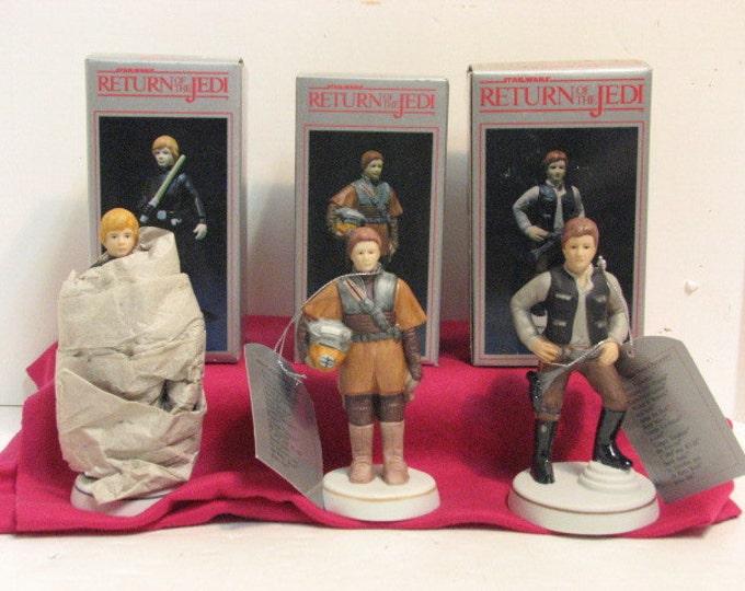 3 Vintage ROTJ Luke Skywalker Princess Leia & Han Solo Sigma Porcelain Figurines NMIB in Box ca: 1983, Star Wars Return of the Jedi by Towle