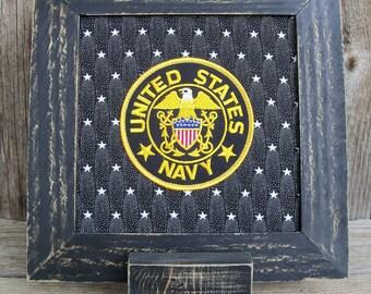 Framed US Navy Emblem Patch Stitchery, Military, United States, Black, Gold, Eagle, Stars, Handmade, Retirement Gift, Veteran