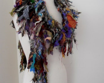 Recycled silk hand knitted boho tattered rag scarf grey black