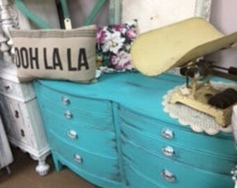 Dresser with 6 Curved Drawers in Turquoise Chalk Paint